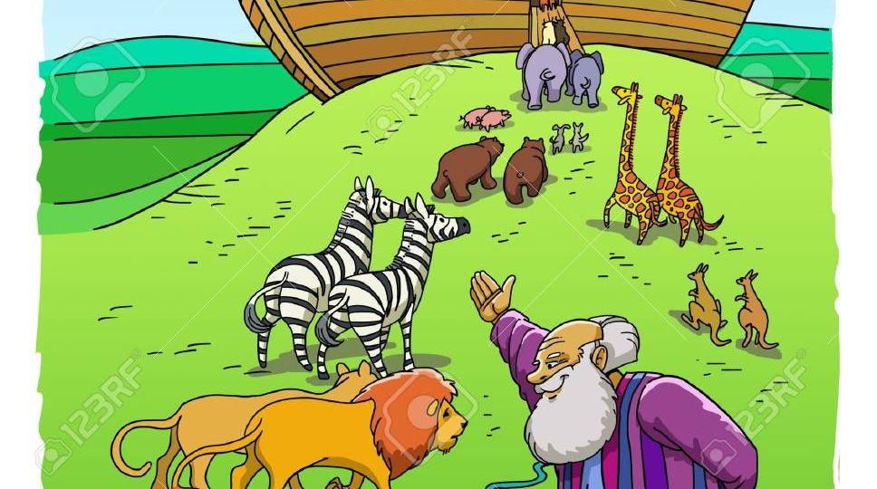 84256491-el-bíblico-noé-invita-a-las-tortugas-leones-cebras-y-otros-pares-de-animales-a-entrar-en-el-arca-en-la-m